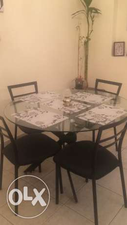 Glass Dining Round shape compact Table with 4 chairs