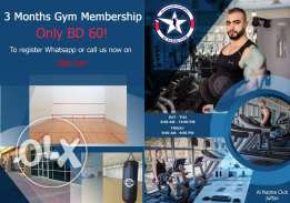 Special Membership rate for limited time, only BD 60 for 3 Months Membership! Including Free squash court access.