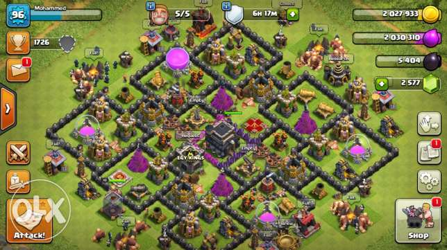 Cheap Clash of Clans TH9 2575+ Gems!