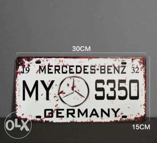 Benz metal plate number