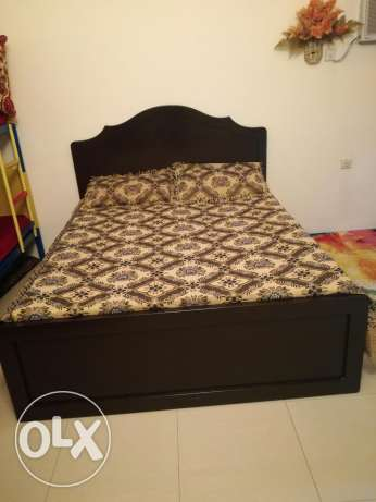 Wooden bed made in bahrain with medicated mattress for sale