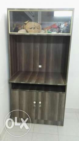 Wooden TV stand with 2 door cupboard and Showcase