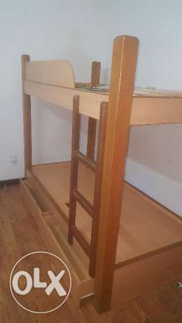 Wooden Bunk Bed with Tea Table