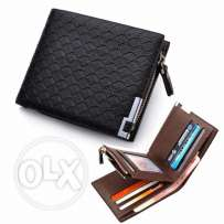 Men leather wallet with coin zipper and card holders