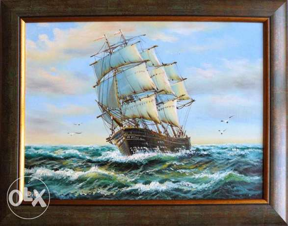 "Fine Art Painting ""Wind in the sails 2"", oil on canvas, size 20"" x 15"""