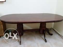 Big solid wooden dinning table with chairs