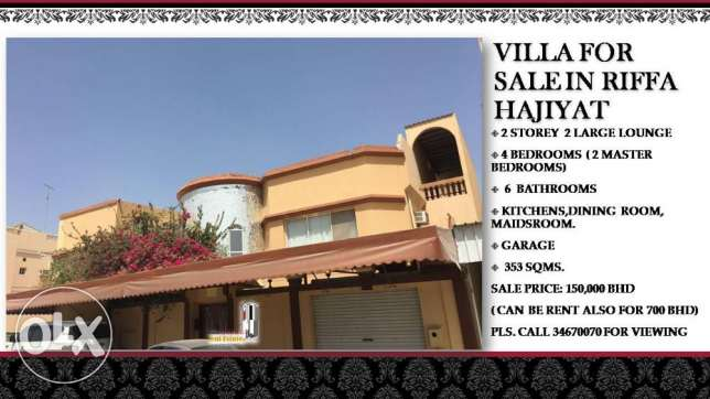 Villa for sale in Riffa Hajiyat