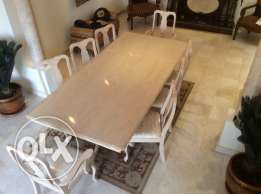 Wooden Dining Table with 8 Chairs + Cabinet