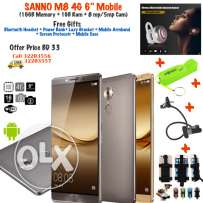 "sanno m8 4g 6"" mobile (16gb memory + 1gb ram + 8 mp/5mp cam)"