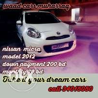 Nissan micra Full option Hatchpack car model 2012 forsale Installments