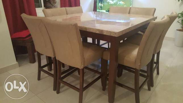 Large Solid Marble Dining Table 8 Chairs Adliya