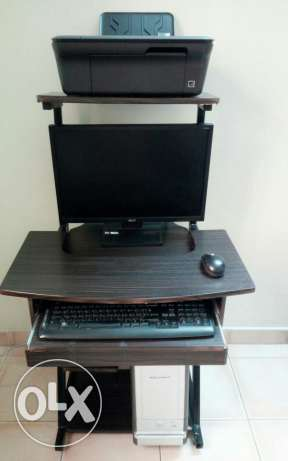 Desktop set with computer table and printer