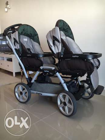 Double stroller, 2 baby car seats, 2 high chairs, 2 light strollers