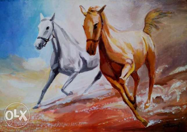 "SALE Fine Art Painting ""Horses"", oil on canvas, 27"" x 19"" (70cm x 50cm"