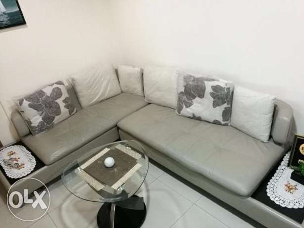 Leather sofa set + Glass Table & Two Chair + Table