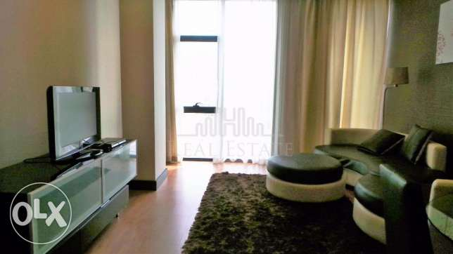 Luxurious fully furnished one-bedroom apartment.