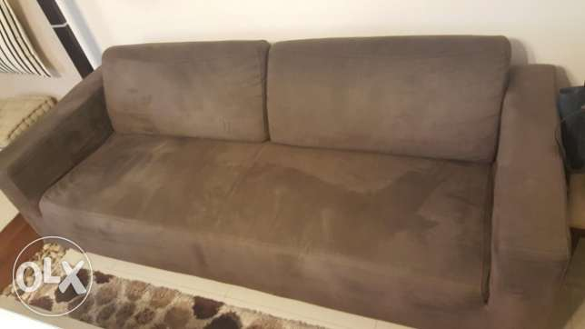 3+2+1 seater brown suede sofa set