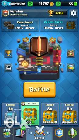 Clash Royale 4000+ cups LEVEL 11 with 70/71 cards