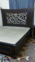 King size bed with mattress + side table for sale