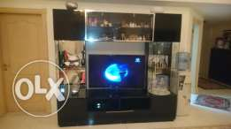 Big TV cabinet with upper and side glass doors