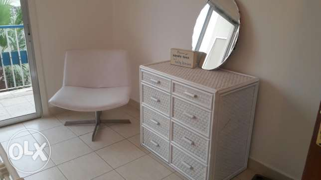 White cane chest of drawers