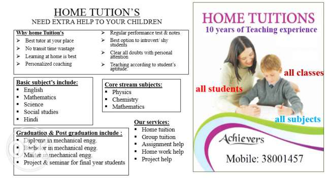 Home tution for all students for all standards
