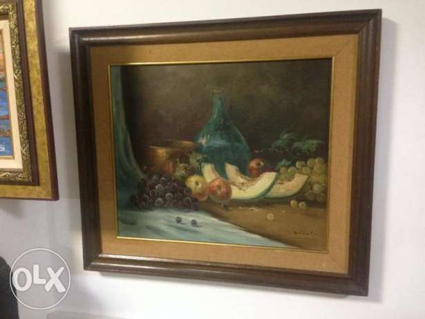 "SALE Antique Painting still life, oil on canvas, size 28"" x 24"""