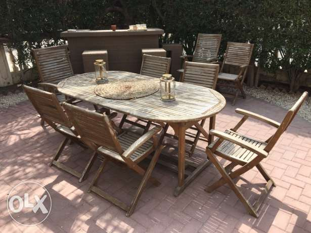 home zone outdoor garden dining table , natural wood