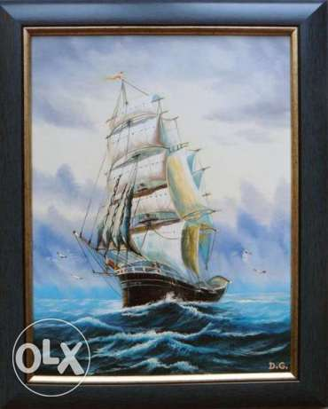 "Fine Art Painting ""Wind in the sails"", oil on canvas, size 20"" x 15"""