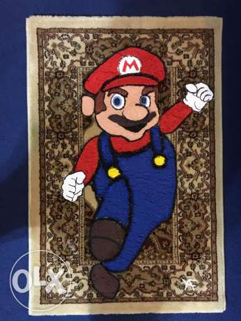 Super Mario painting on carpet