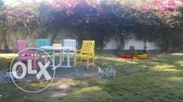 Colorful Garden Table and 4 Chairs and 2 Tires