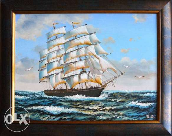 "Fine Art Painting ""Sails in Black Sea"", oil on canvas, size 20"" x 15"""