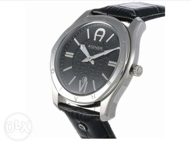 New Aigner original swiss made for men's black belt and black dial. جد علي -  2