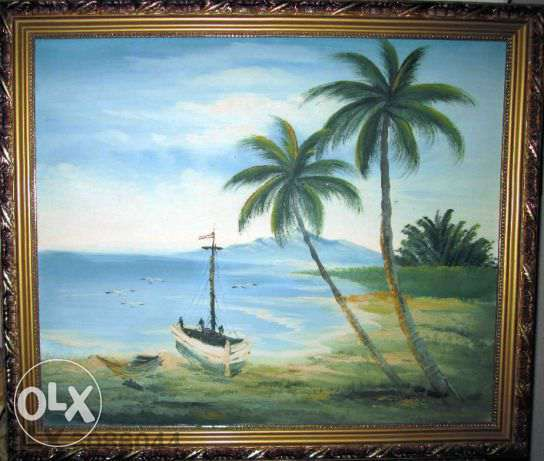 "Fine Art Seascape Painting hand painted oil on canvas, size 26"" x 23"""