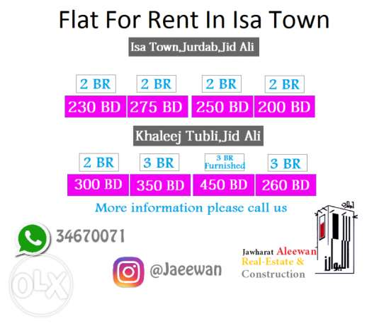 Flat For Rent In Isa Town