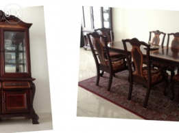 Formal hutch and base. Formal table with 6 chairs
