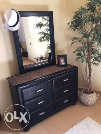 Dresser with Mirror, Faux Leather & Wood
