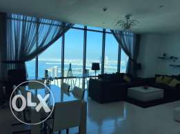 Sea view 2 bedrooms flat on 40th floor for rent in Seef .