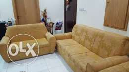 Urgent sale of Golden Sofa set (teapoy+cushions incl)