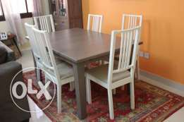 IKEA dining table, with 8 chairs EXTENDABLE made bigger to fit 8