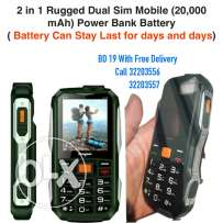 2 in 1 rugged dual sim mobile (20,000 mah) power bank battery