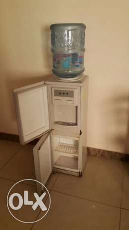 Water dispenser with hot-cold taps and mini fridge