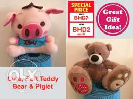 Soft Teddy Bear & Piglet for Sale!
