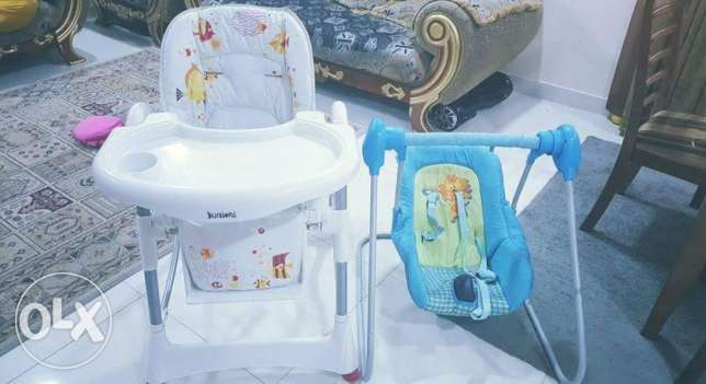 Juniors Baby High Chair And Free Juniors Baby swing.