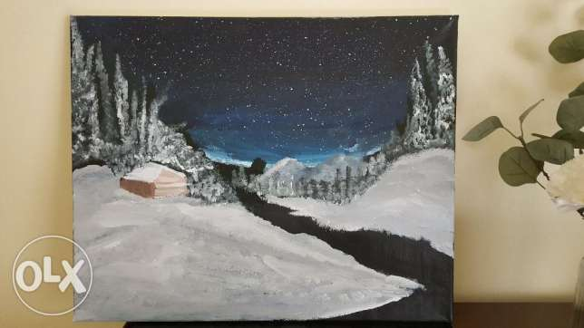 Winter Night Nature Scenery Painting