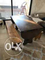 English Drop Leaf Table and Stools