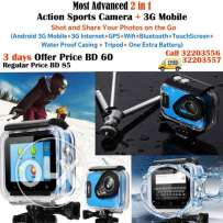 most advanced 2 in 1 action sports camera + 3g mobile