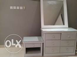 Dressing table wd side table and separate big mirror for sale at 50.