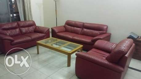 pure leather sofa set 3+2+1 with glass table