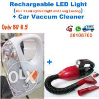 led rechargeable light 43+3 led lights car vaccum cleaner with light